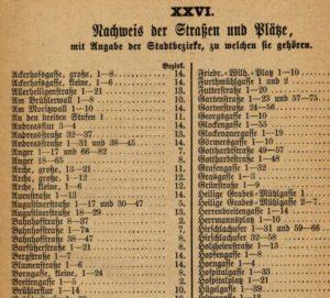 Erfurt - Blumenstraße Erwähnung im Adressbuch 1884